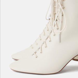 Zara Shoes | Zara White Lace Up Boots